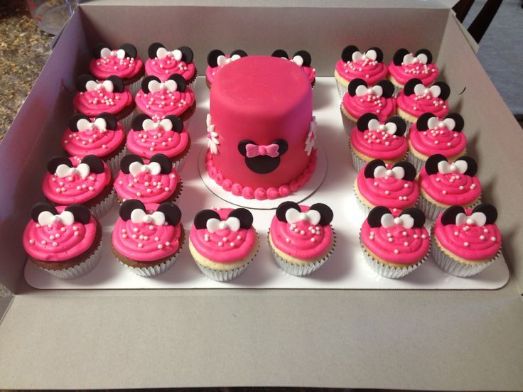 Excellent Minnie Mouse Cupcake Cake Ideas Minnie Mouse Smash Cake And Personalised Birthday Cards Vishlily Jamesorg