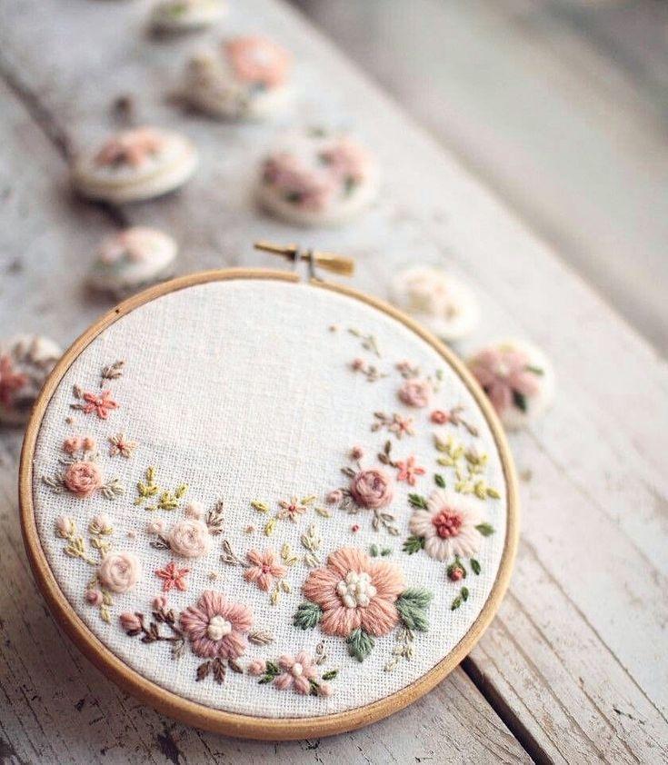 Les fleurs au cœur sont mille fois plus de broderies bricolage   – Cross Stitching