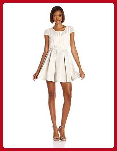 BCBGeneration Women's Blouse and Full Skirt Dress, Whisper White, 10 - All about women (*Amazon Partner-Link)