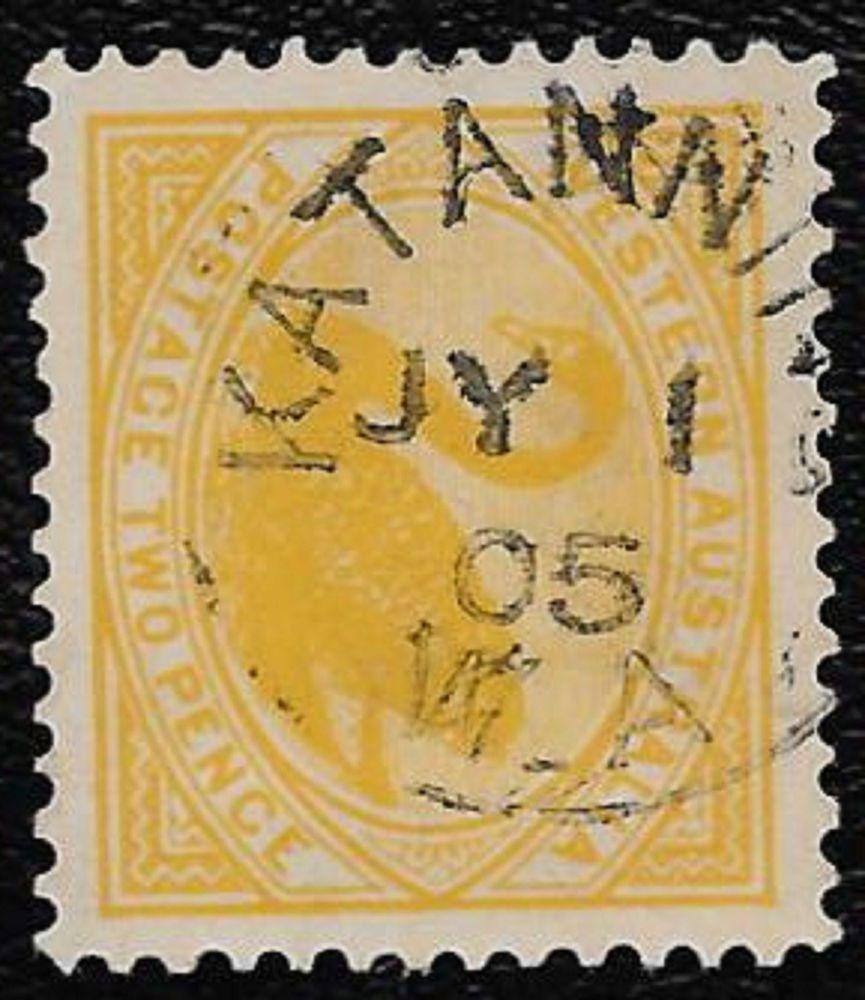 + 1905 Western Australia Swan Bird #91 A16 2p Sotn Small Town Katanning