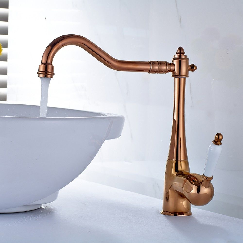 Fapully Brand New Single Lever Mixer Tap Rose Gold Bathroom Faucet
