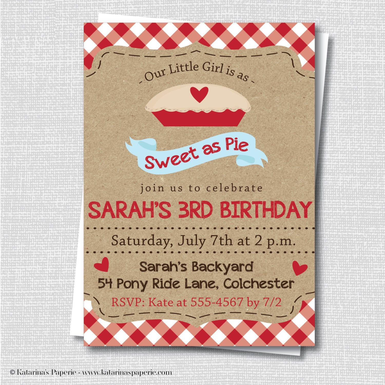 Sweet as Pie Birthday Invitation Pie Invitation Cherry