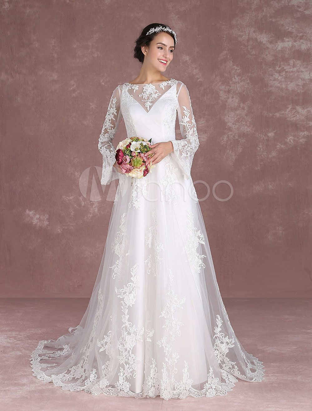 Summer wedding dresses boho lace beach bridal dress bell sleeve