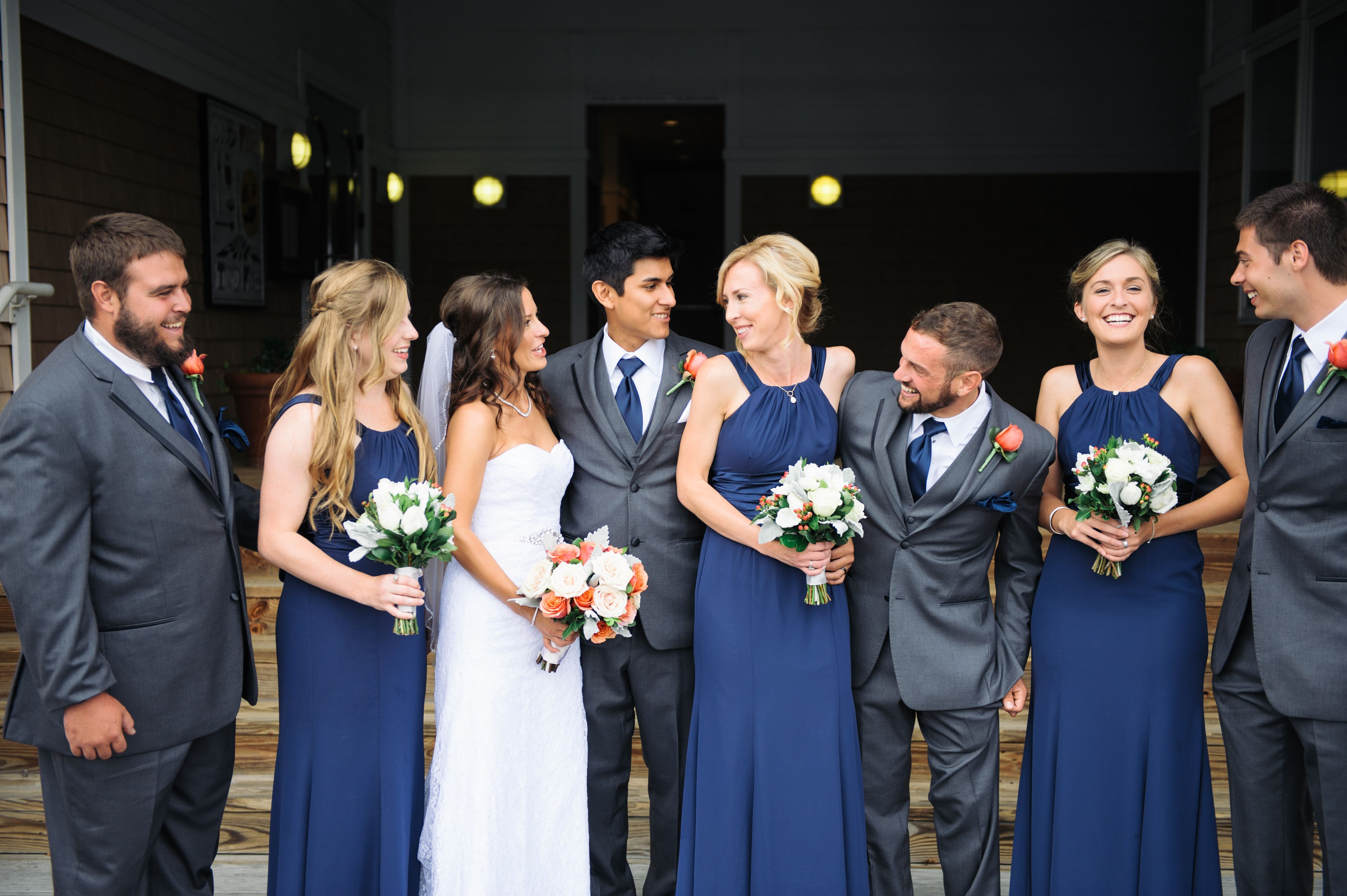 Wedding Party In Navy And Charcoal Gray Navy Bridal Parties Gray Wedding Party Navy And Burgundy Wedding