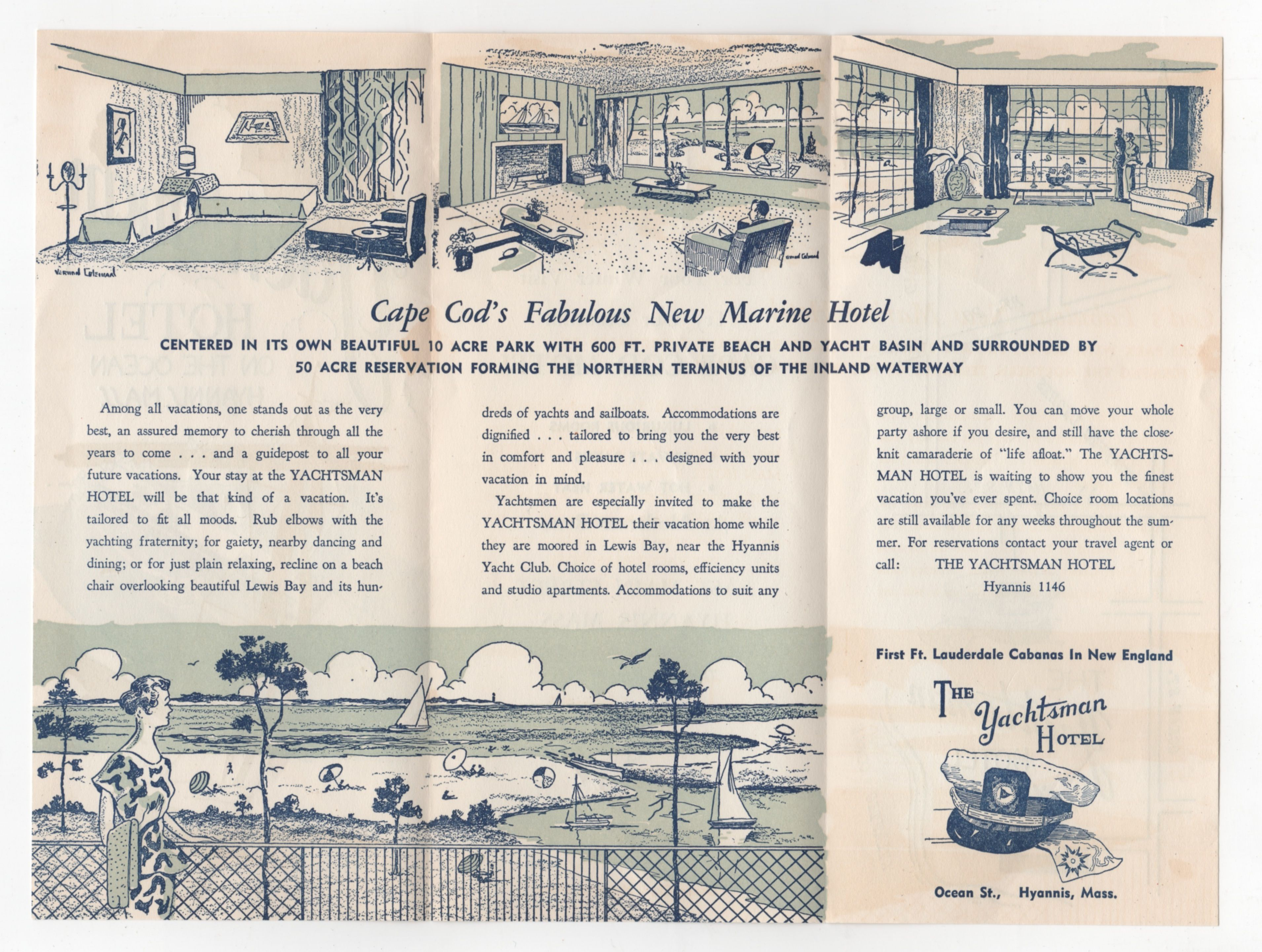 Inside Brochure For Yachtsman Hotel Hyannis Cape Cod Ma 1956 Cape Cod Vintage World Maps Cape