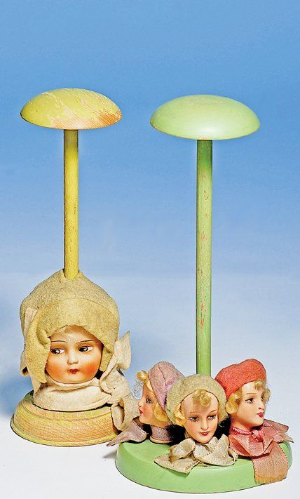 """271: TWO DOLL HAT STANDS. 10"""". Wooden stands with circ - Jun 16, 2012   Frasher's Doll Auction in MO"""