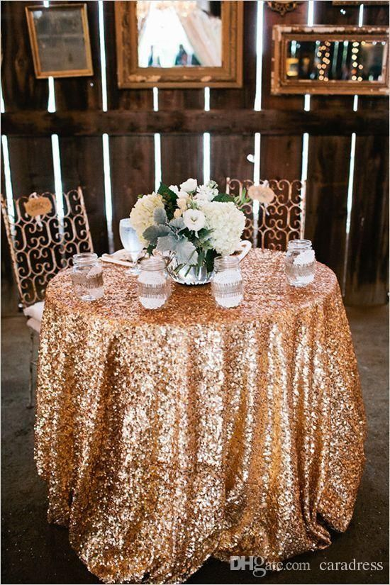 New Bling Rose Gold Sequins Table Cloth Wedding Party Round Wedding Decorations Silver P Rose Gold Sequin Tablecloth Pink And Gold Wedding Glitter Table Cloths