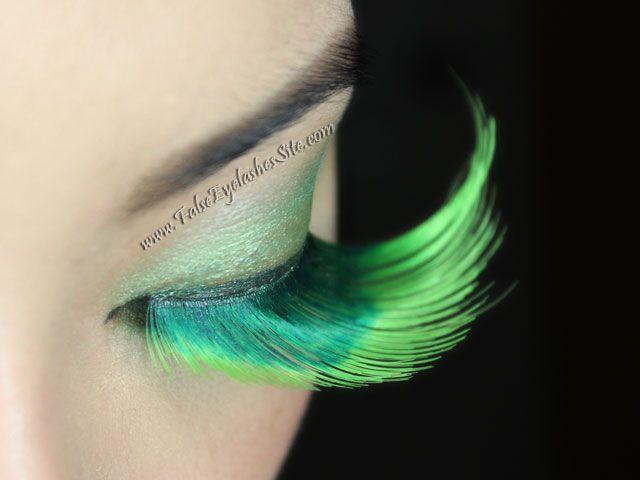 Long Green False Eyelashes For St Patricks Day Halloween Dance