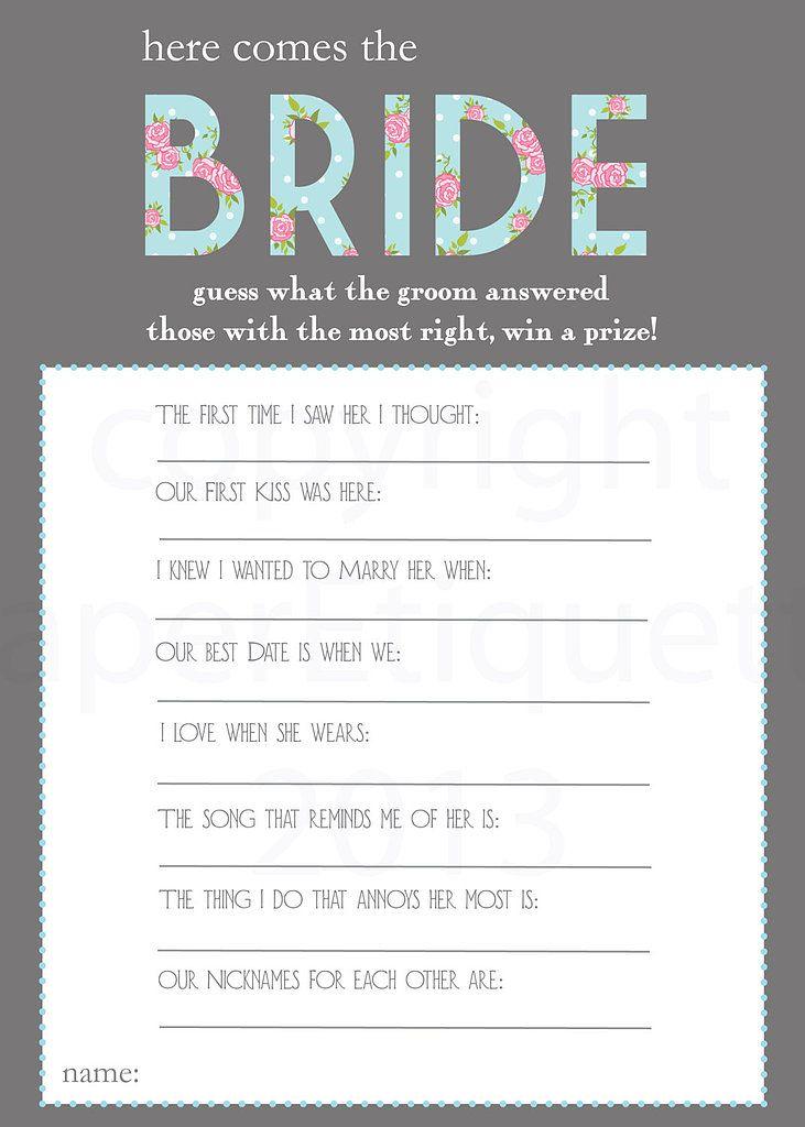 Here Comes the Bride Printable bridal shower games, Bridal - bridal shower checklist