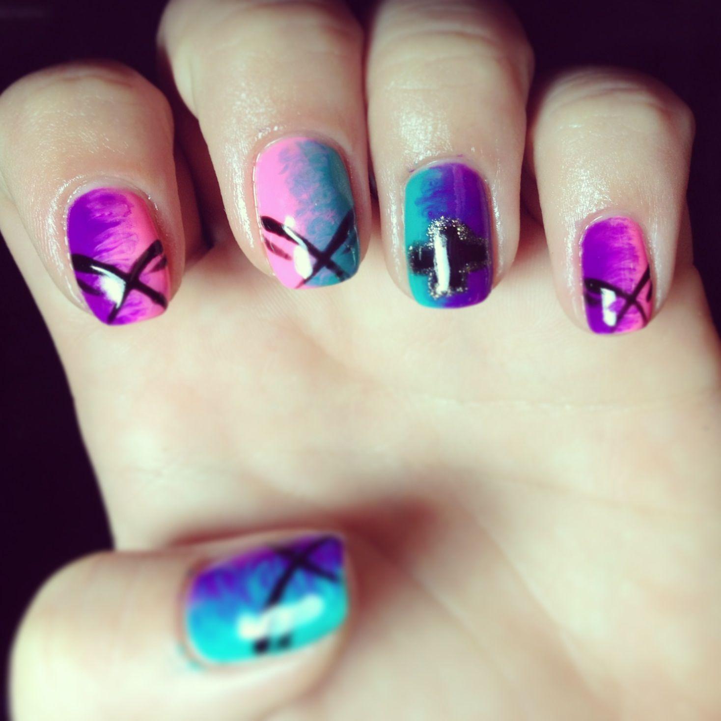 Nails nail art polish design gelish shellac fade ombre chevy black ...
