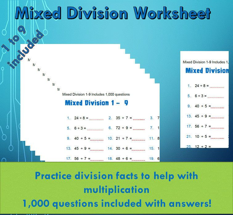 Division Facts Drill Worksheet pdf/ For Kids Year 4/ With Answers ...