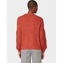 Photo of Tom Tailor Frauen Nena & Larissa: Pullover mit Strickmuster, rot, schlicht, Größe xxl Tom TailorTom Ta