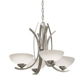 Brushed Nickel Dining Room Light Fixtures Portfolio Lebach 4Light Brushed Nickel Chandelier  Dining And