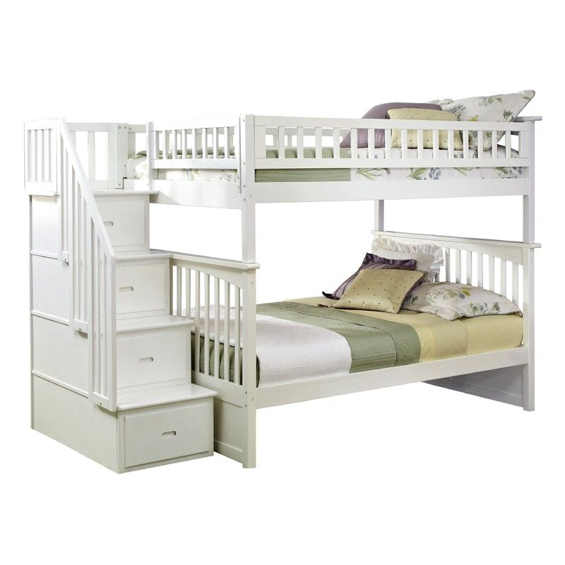 White Classic Arch Slatted Bunk Bed With Stairs Kids Room