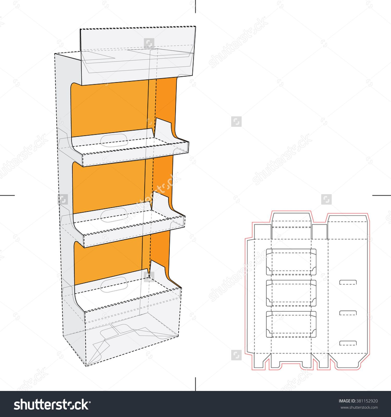 point of sale display template - display stand shelf with blueprint layout stock vector