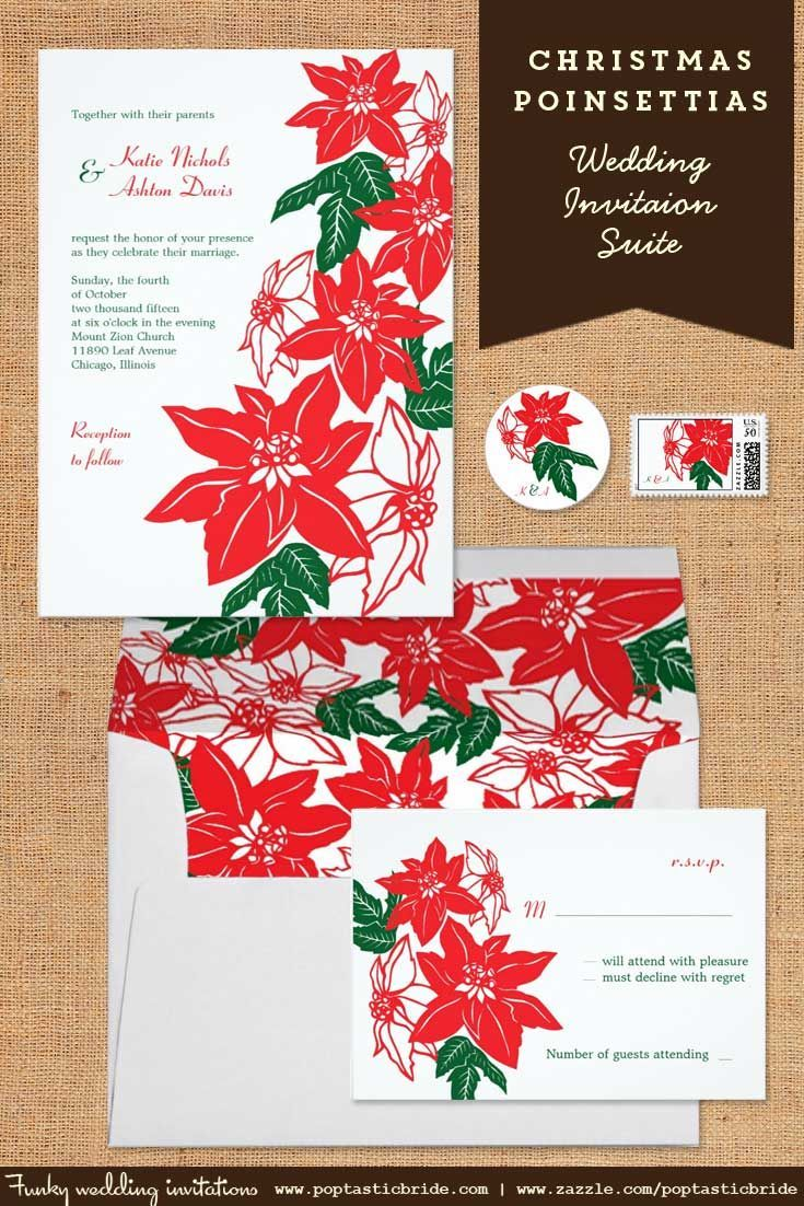 Christmas poinsettias wedding invitation | poinsettia wedding ...