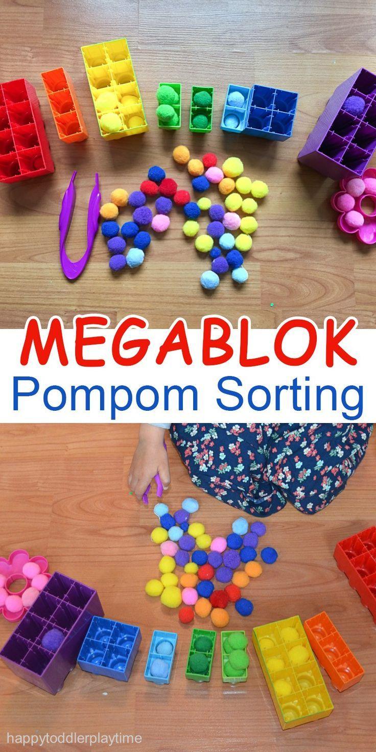 mega blok pompom sorting | feinmotorik, spiele selber machen und rechnen