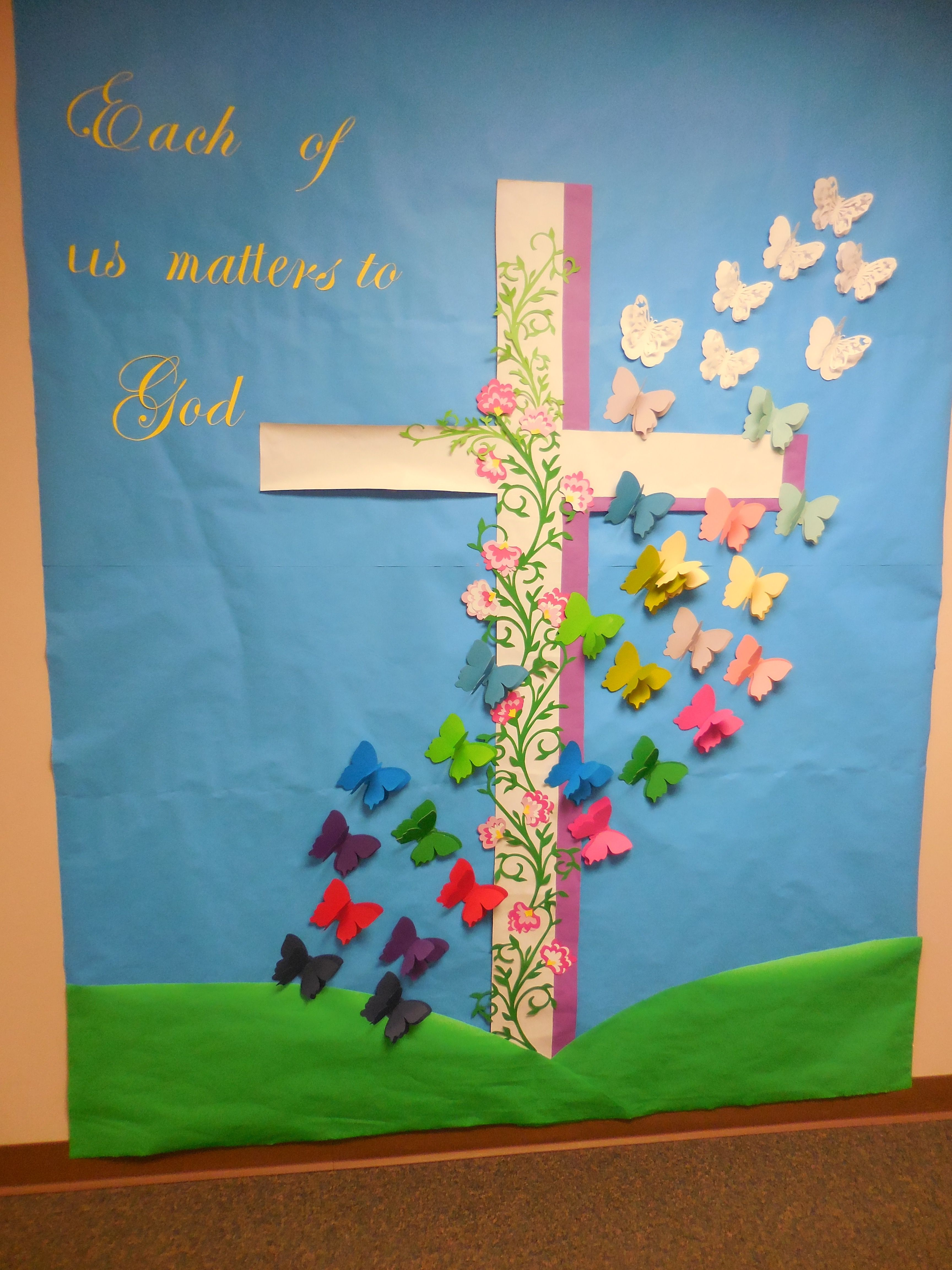Christian easter bulletin board ideas -  each of us matters to god april easter resurrection cross christian bulletin boardsspring bulletin boardschurch bulletin