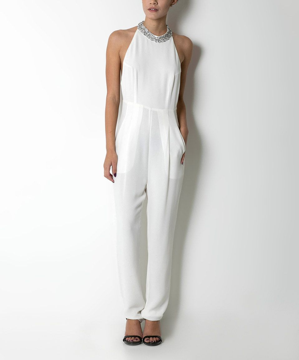 2410dcecd45e Look what I found on  zulily! CQbyCQ Ivory Rhinestone-Yoke Halter Jumpsuit  by CQbyCQ  zulilyfinds