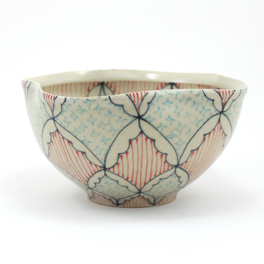 Ceramic Bowl with Navy Blue, Turquoise and Red Pattern. $58.00, via Etsy.