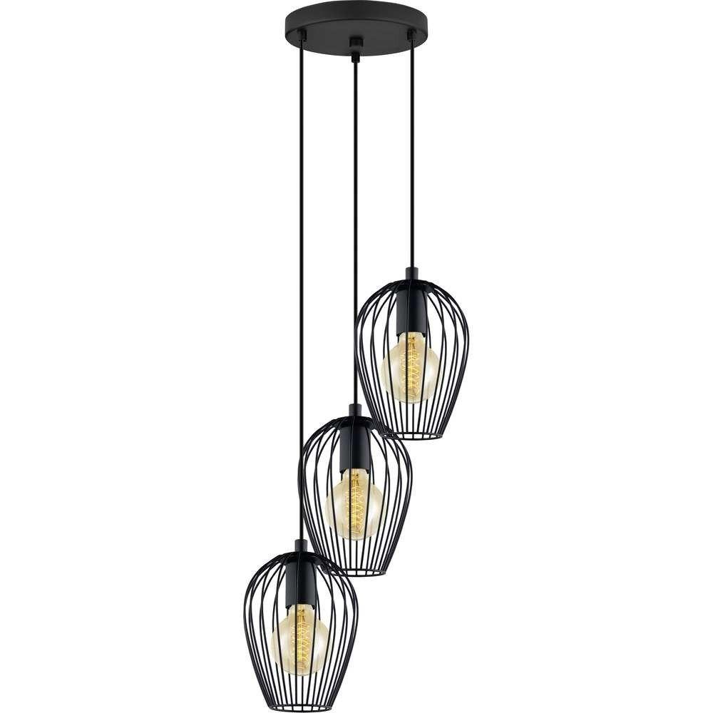 eglo 49479 newtown vintage black wire cage 3 lamp round plate