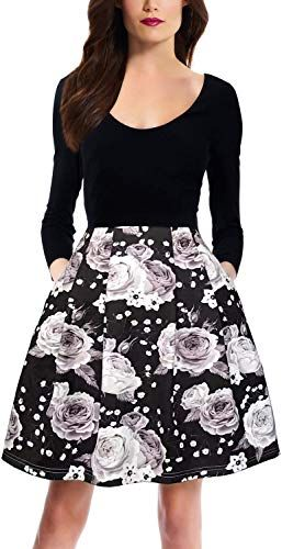 New Zalalus Women's Elegant Floral Patchwork Pockets Backless Casual Party Dress online