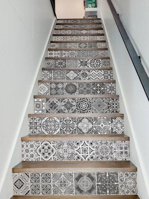 Bohemian Patterned Removable Stair Stickers Stair Decor
