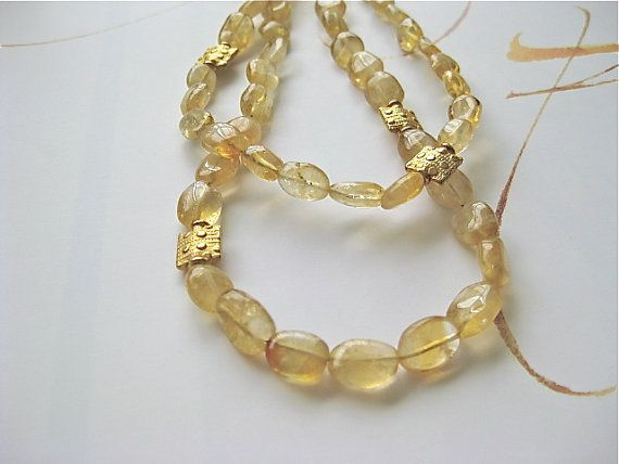 Citrine Gold Double Strand Necklace  Golden by PluffMudDesigns, $78.00