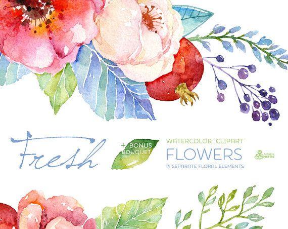 Flores El Elemento Ideal Para Tu Pastel De Bodas: Este Conjunto De Mano De Alta Calidad Pintados A Acuarela