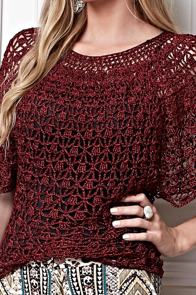 See this beautiful blouse crochet patterns free. See the chart below ...