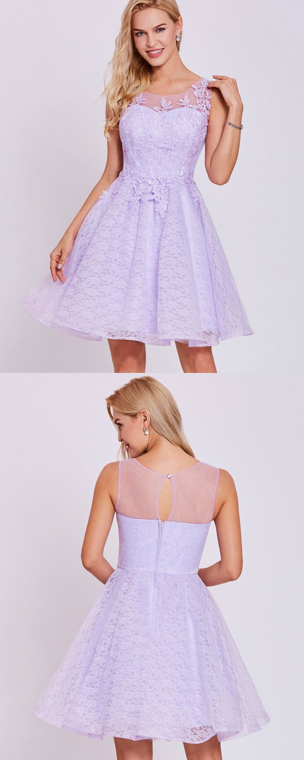 Scoop neck lace appliques a line homecoming dress to the party