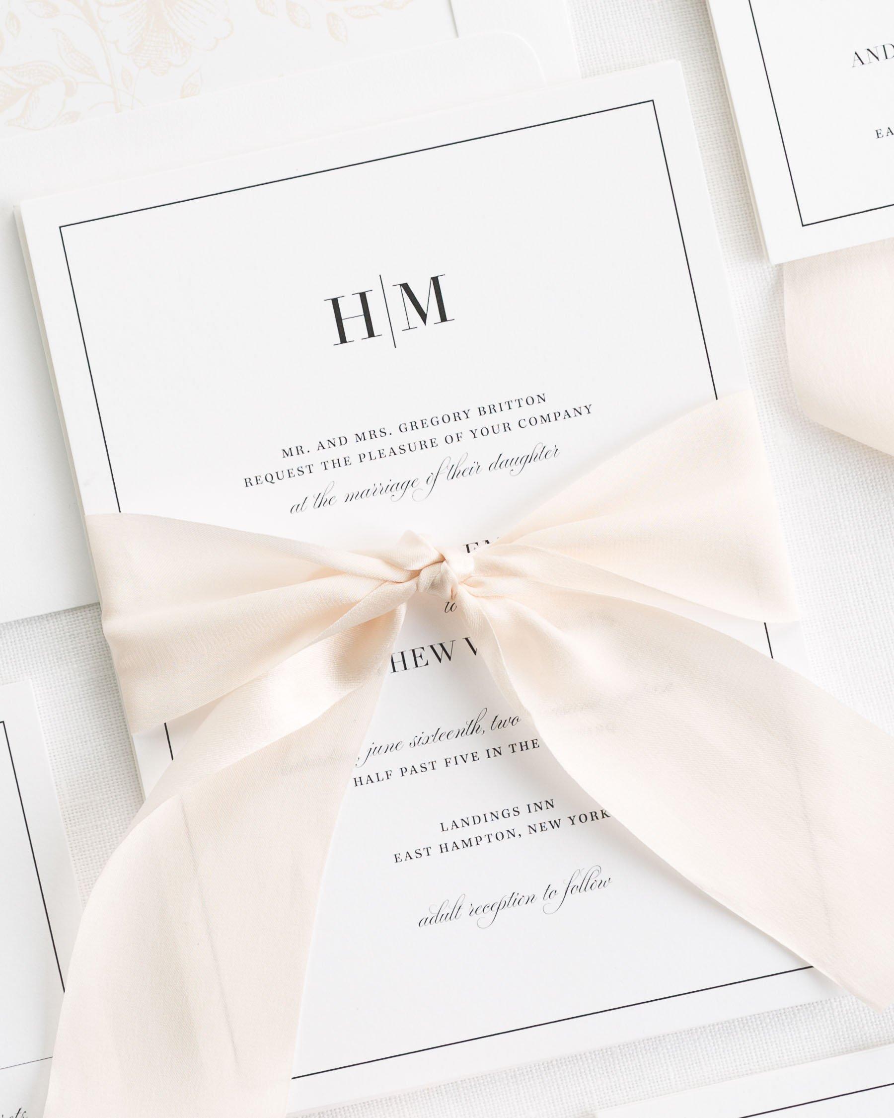 50 x Handmade Personalised Wedding Invitations vintage classic elegant ribbon
