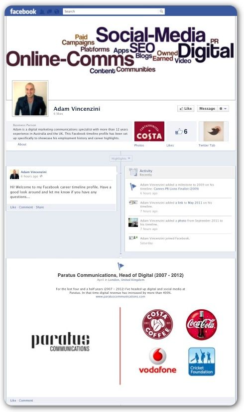 Facebook timeline resume Worth considering (I would create a