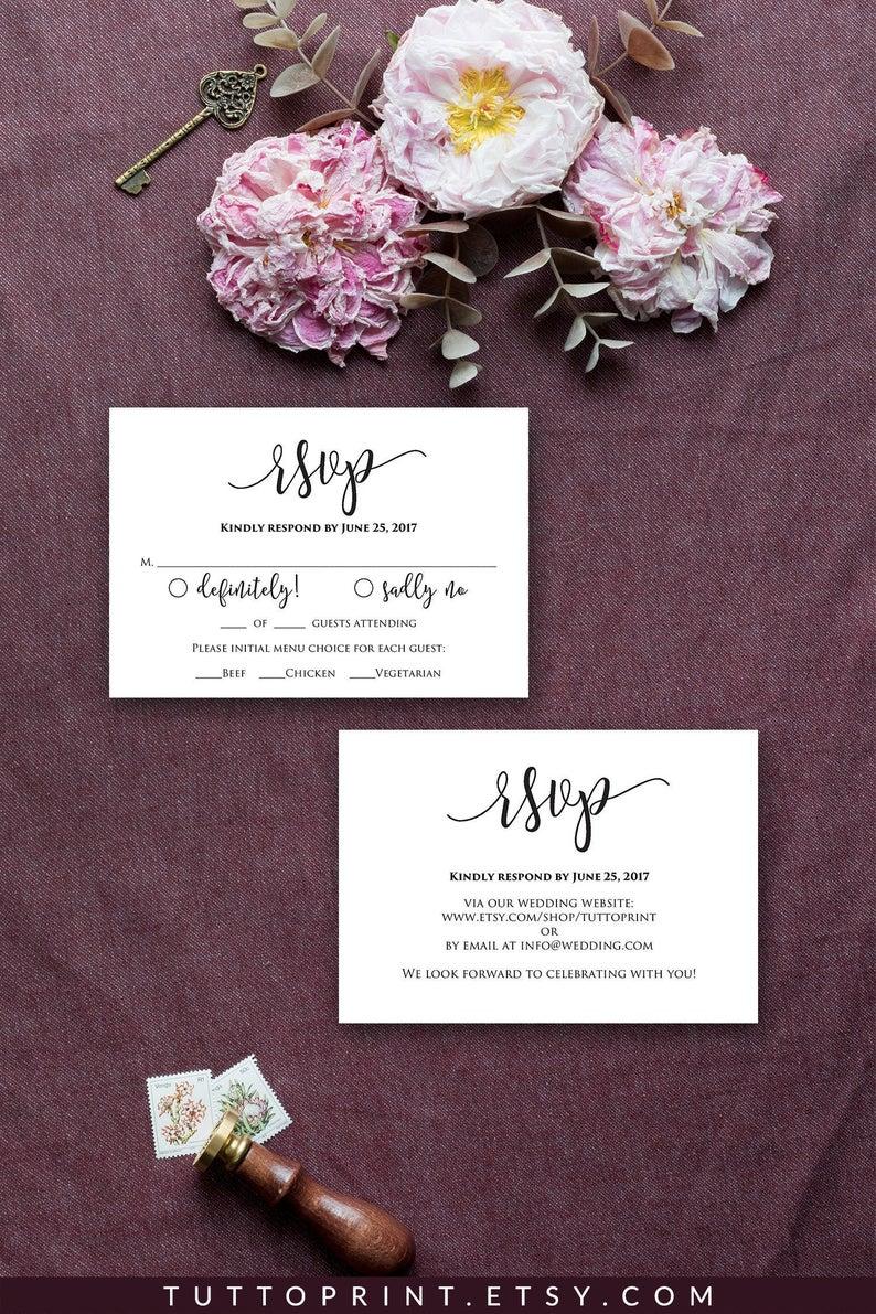 Wedding RSVP Cards Printable Template, Editable Wedding