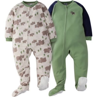 52d212ae2 Gerber Size 2T 2-Pack Wild Bear Footie Pajamas In Oatmeal green in ...