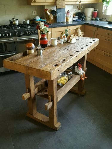 Rustic Workbench Table Kitchen Island Butchers Block Prep