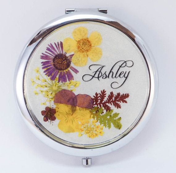 Pleasant Personalized Real Pressed Flower Compact By Angemaraboutique Caraccident5 Cool Chair Designs And Ideas Caraccident5Info