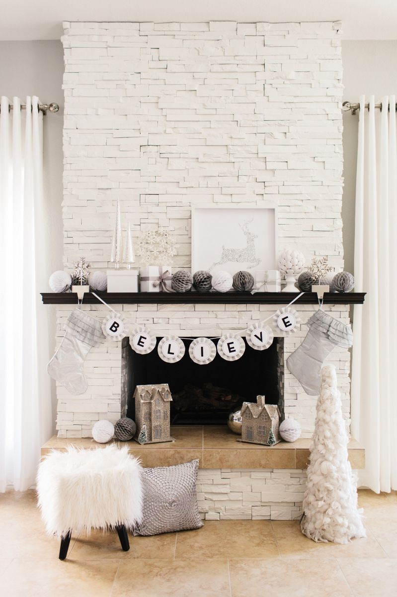 gorgeous glam holiday mantel christmas decorating. Black Bedroom Furniture Sets. Home Design Ideas