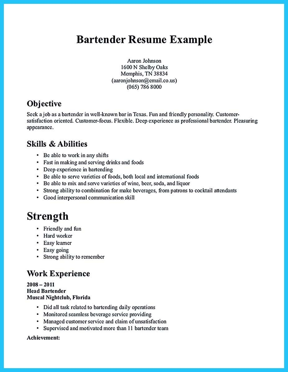 Bartender Resume Experience Sample Job Description Create Career