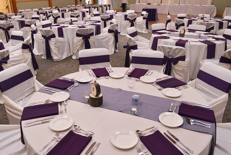 Ivory Table Linen, Ivory Bag Style Chair Covers With Eggplant Sashes,  Silver Table Runner