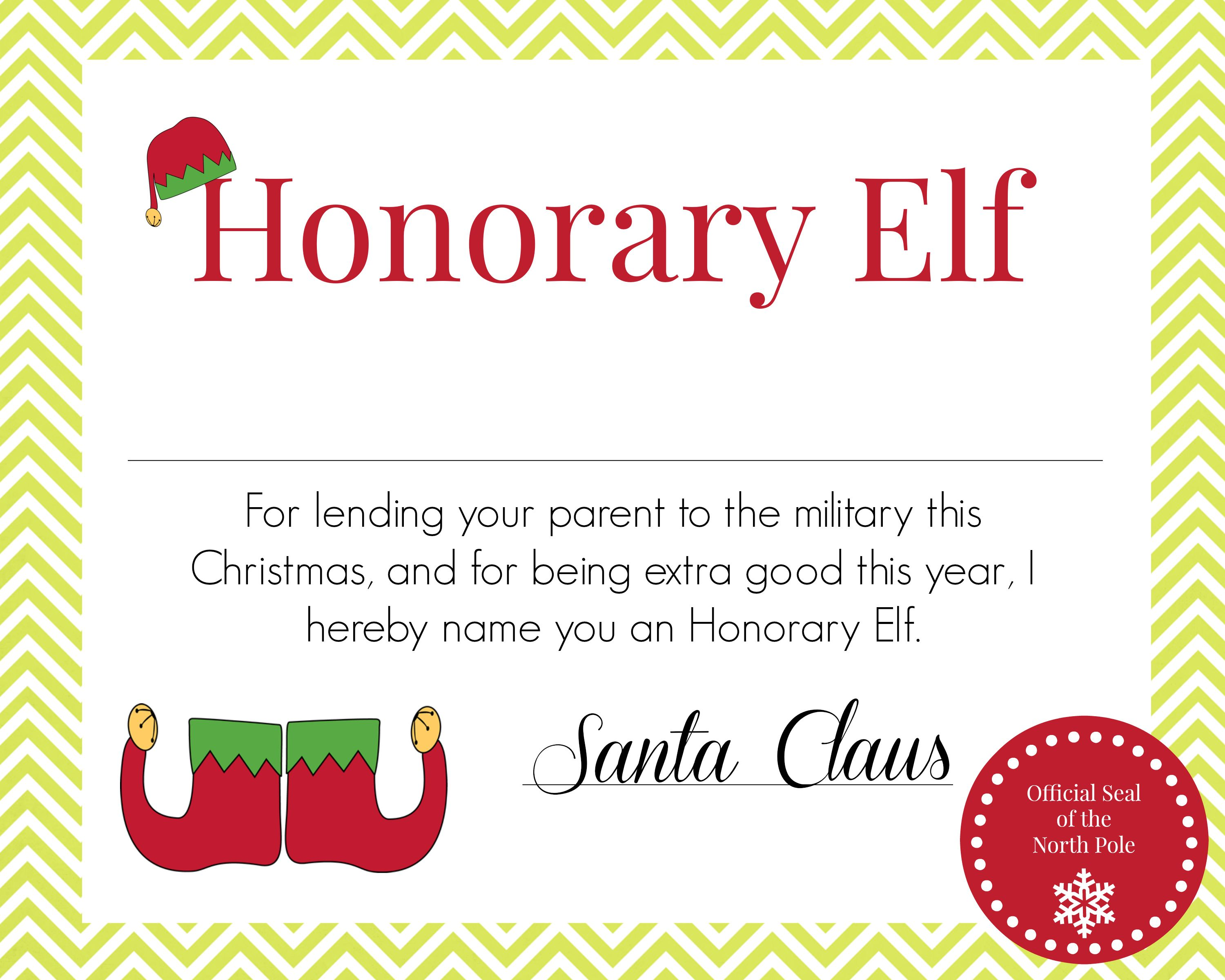 Honorary Elf Certificate For When Parent Is Deployed During