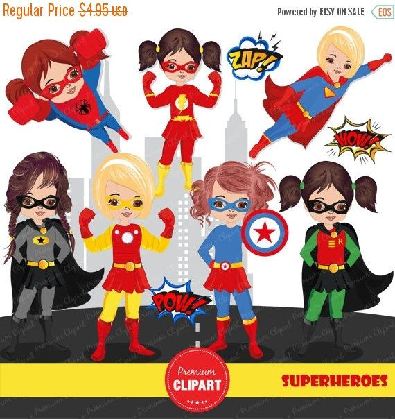 70% OFF SALE Girl superhero clipart, superhero clipart, superhero girl clipart, superman clipart, superhero costume- CA205 by PremiumClipart on Etsy