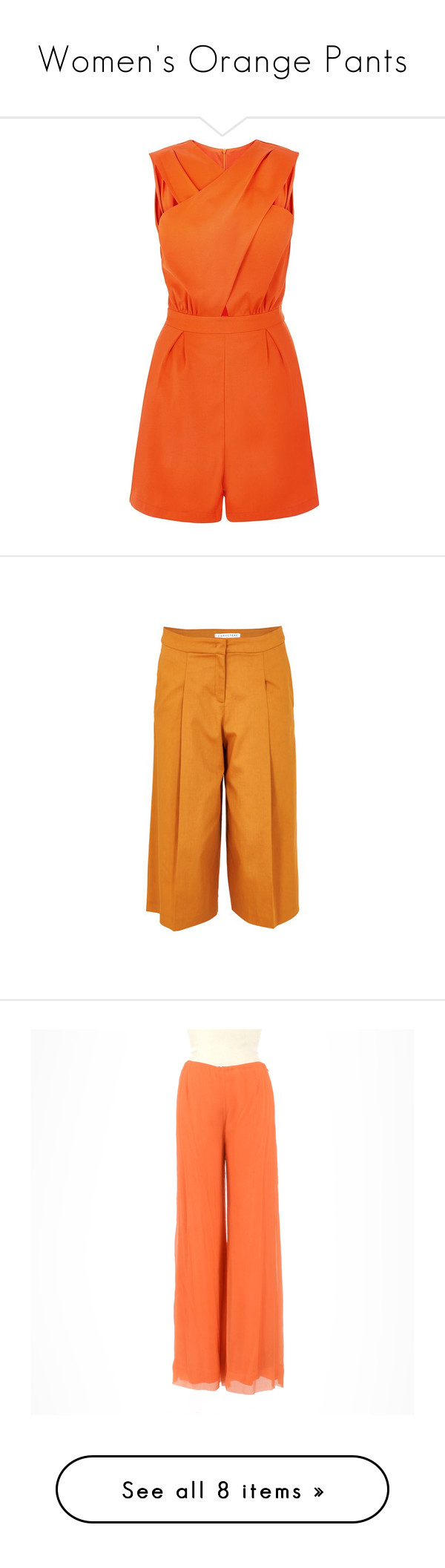 """Women's Orange Pants"" by eternalfeatherfilm on Polyvore featuring jumpsuits, rompers, jumpsuit, playsuits, dresses, red, orange jumpsuit, red rompers, cut out romper and cut-out jumpsuits"