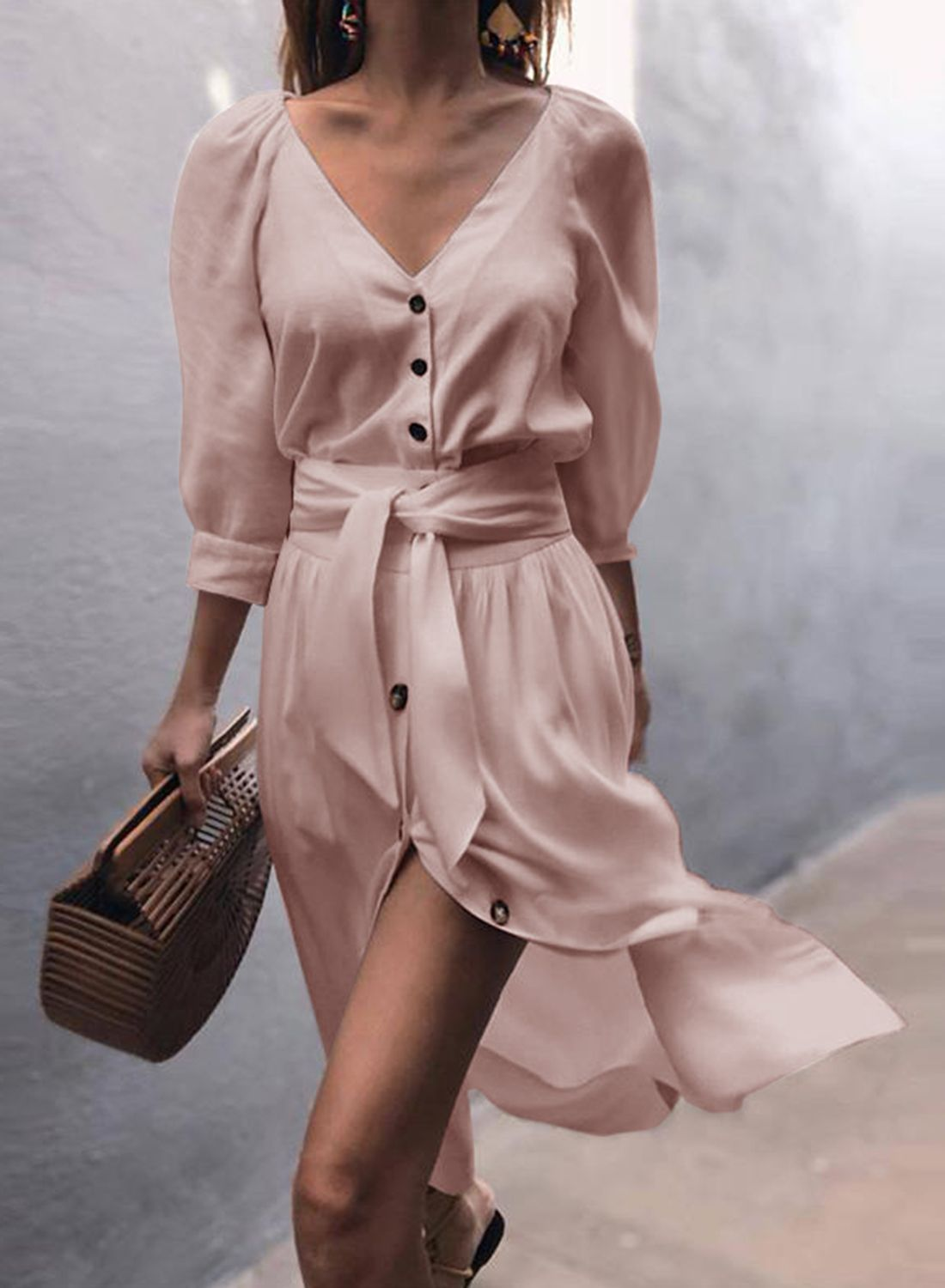 b91543034f Women s V Neck Puff Sleeve Button Casual Dress With Belt