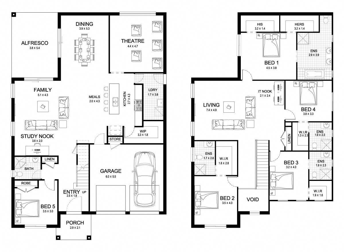 Dynasty 42 Double Level Floorplan By Kurmond Homes New Home Builders Sydney Nsw Bestho Double Storey House Plans Home Design Floor Plans New House Plans