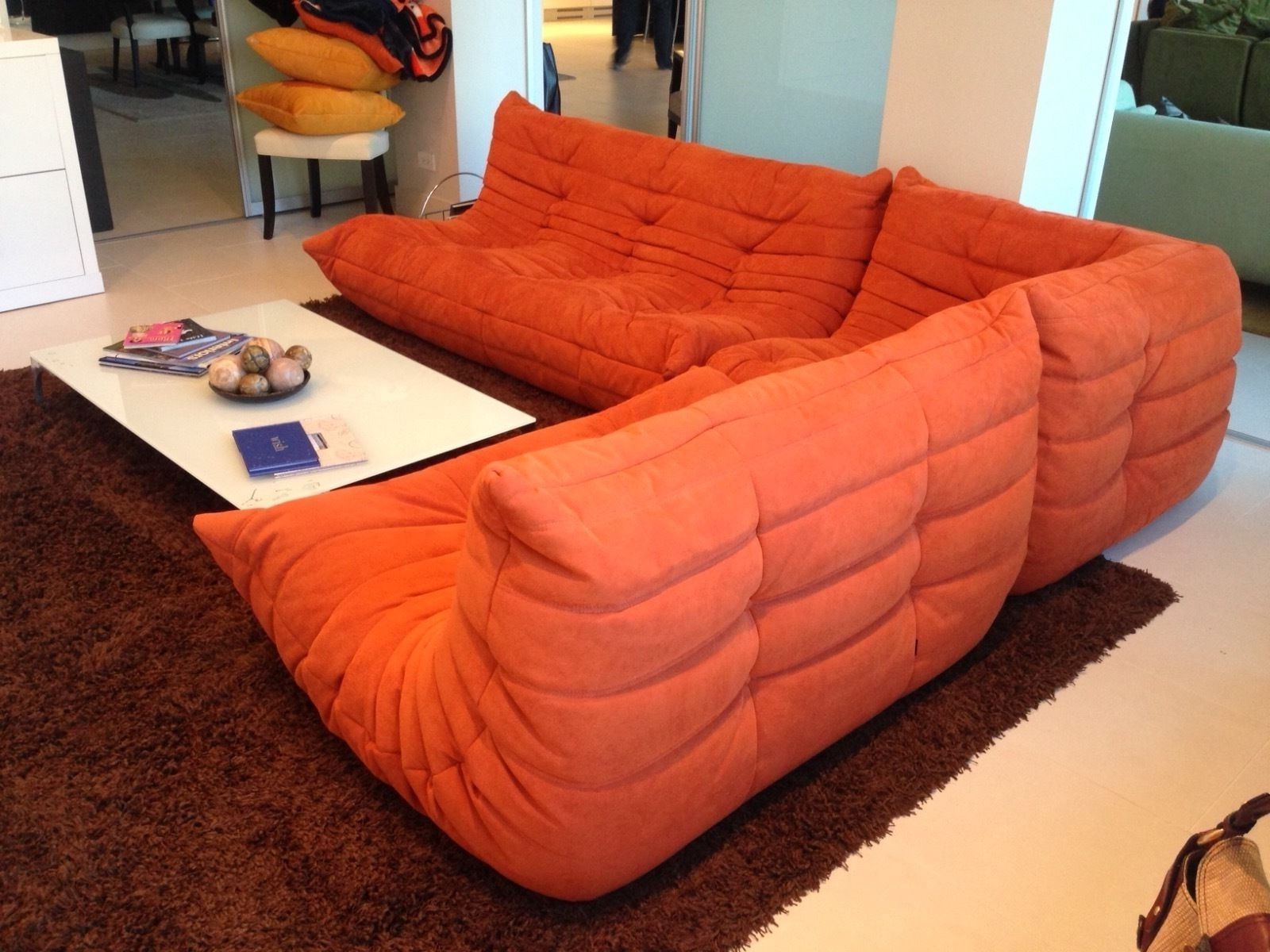 Ligne Roset Togo Sectional Sofa Corner and Loveseat in Orange Alcantara : togo sectional - Sectionals, Sofas & Couches