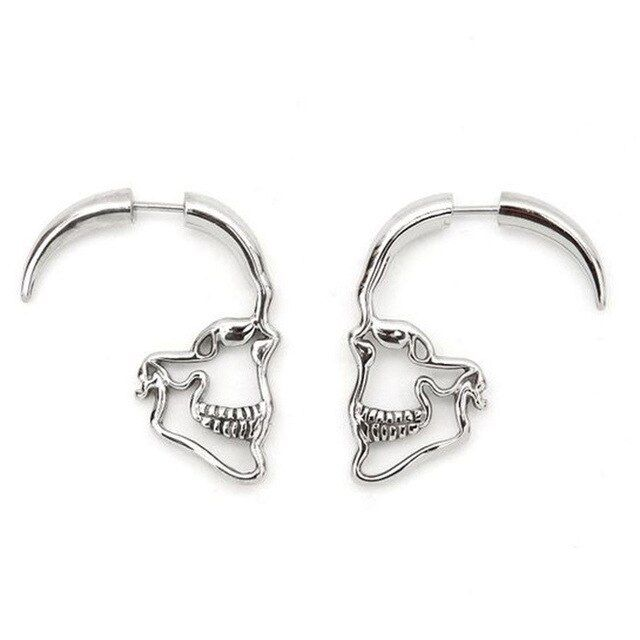 Crazy feng silver color gothic punk hollow out skull skeleton stud earrings indian party costume jewelry brincos bijoux is part of Mens earrings studs, Skeleton earrings, Ear jewelry, Stud earrings, Skull earrings, Skull jewelry - Crazy Feng Silver Color Gothic Punk Hollow Out Skull Skeleton Stud Earrings Indian Party Costume Jewelry Brincos Bijoux