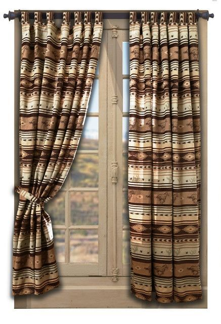 Carjb4178 Brown Mustang Western Drapes With Tie Backs