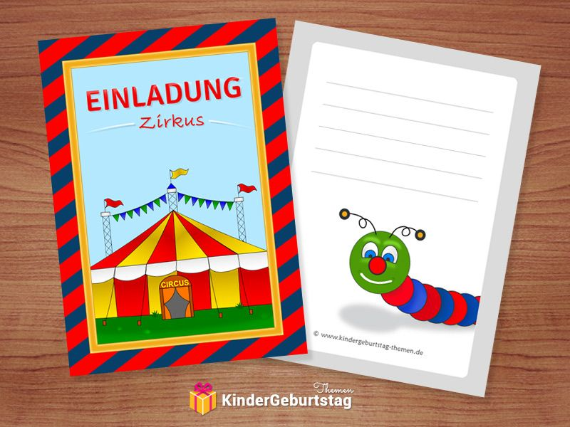 Kostenlose Einladungskarten Zirkus Zum Kindergeburtstag