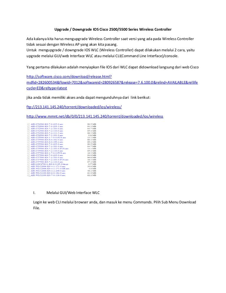 Upgrade dan Downgrade IOS Cisco 2500/5500 Series Wireless